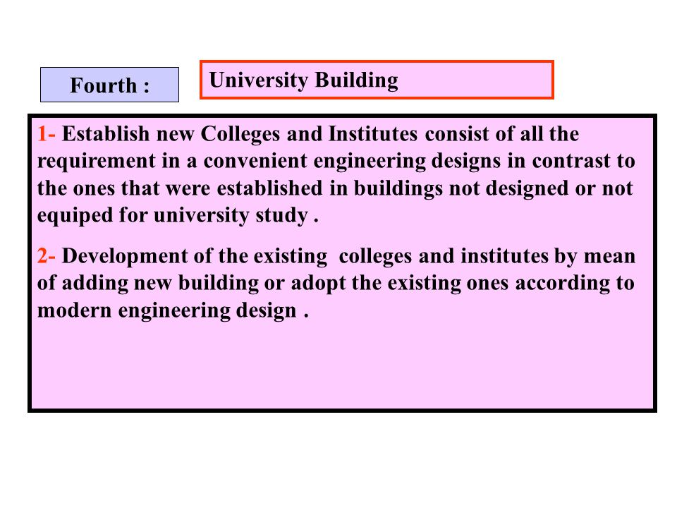 University Building 1- Establish new Colleges and Institutes consist of all the requirement in a convenient engineering designs in contrast to the ones that were established in buildings not designed or not equiped for university study.
