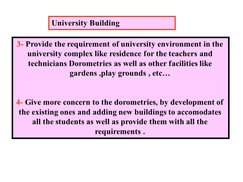 3- Provide the requirement of university environment in the university complex like residence for the teachers and technicians Dorometries as well as other facilities like gardens,play grounds, etc… 4- Give more concern to the dorometries, by development of the existing ones and adding new buildings to accomodates all the students as well as provide them with all the requirements.