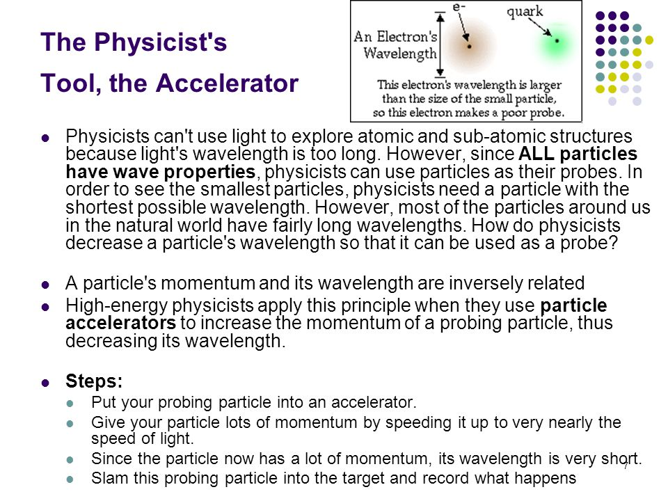 7 The Physicist s Tool, the Accelerator Physicists can t use light to explore atomic and sub-atomic structures because light s wavelength is too long.
