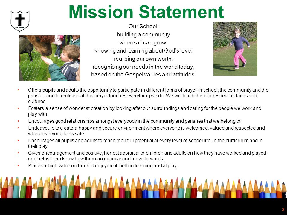 3 Mission Statement Our School: building a community where all can grow, knowing and learning about Gods love; realising our own worth; recognising ou