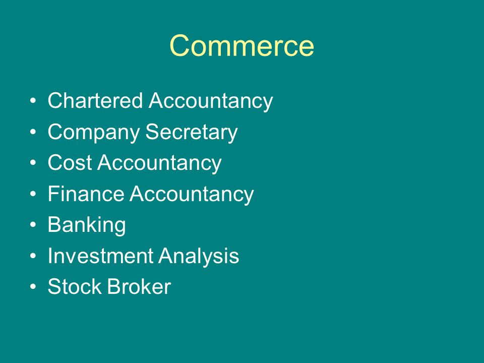 Commerce Chartered Accountancy Company Secretary Cost Accountancy Finance Accountancy Banking Investment Analysis Stock Broker