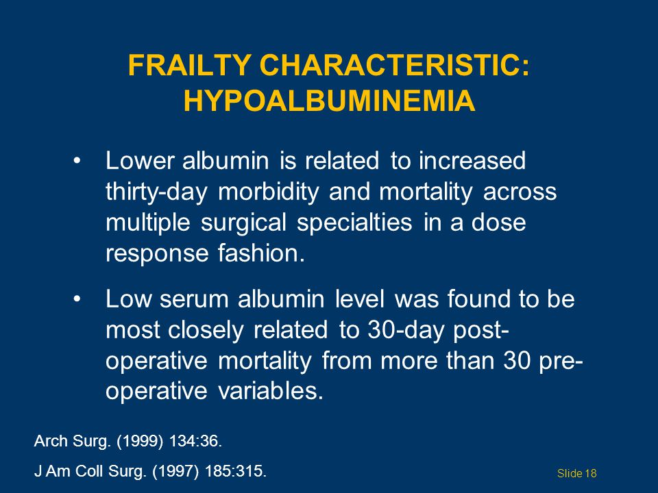 FRAILTY CHARACTERISTIC: HYPOALBUMINEMIA Arch Surg.