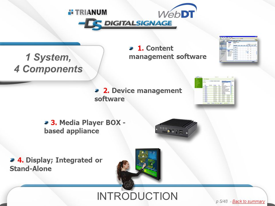 ADVANTAGES First Interactive Digital Signage System Designed Specifically for Commercial Use Largest Industrial-grade Interactive LCD Displays First All-in-one display with a Modular Design First Remote Auto-recovery of HW & SW First Comprehensive System with Fully- Integrated Hardware & Software from a single source INTRODUCTION p 6/48 - Back to summaryBack to summary