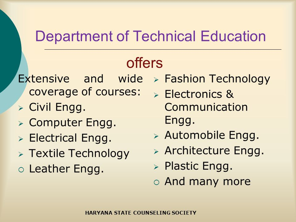 Department of Technical Education Extensive and wide coverage of courses: Civil Engg.
