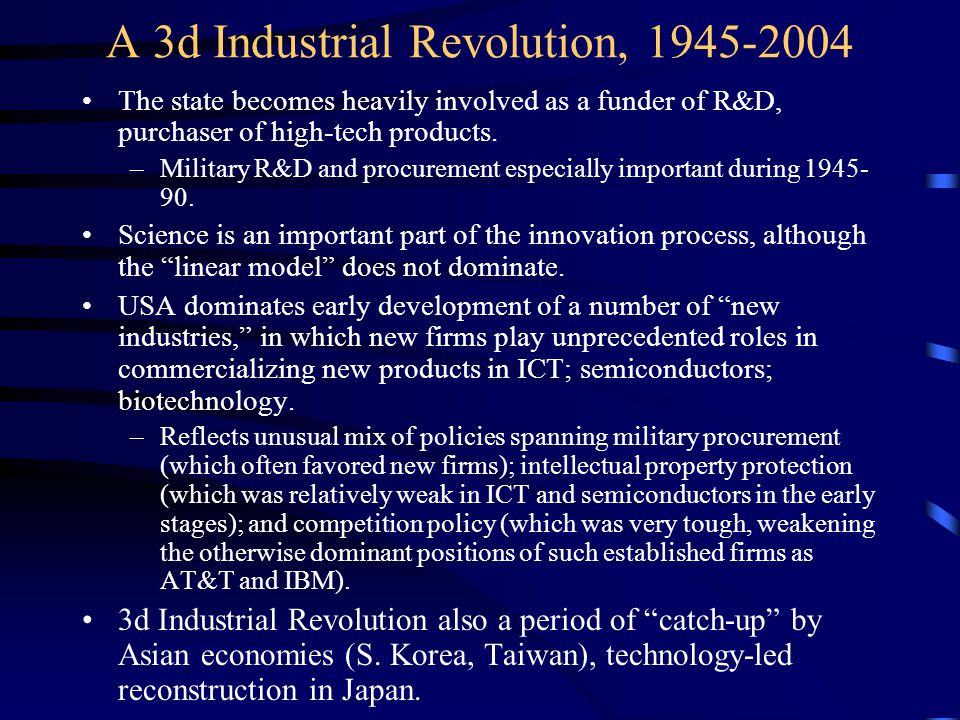 A 3d Industrial Revolution, 1945-2004 The state becomes heavily involved as a funder of R&D, purchaser of high-tech products.