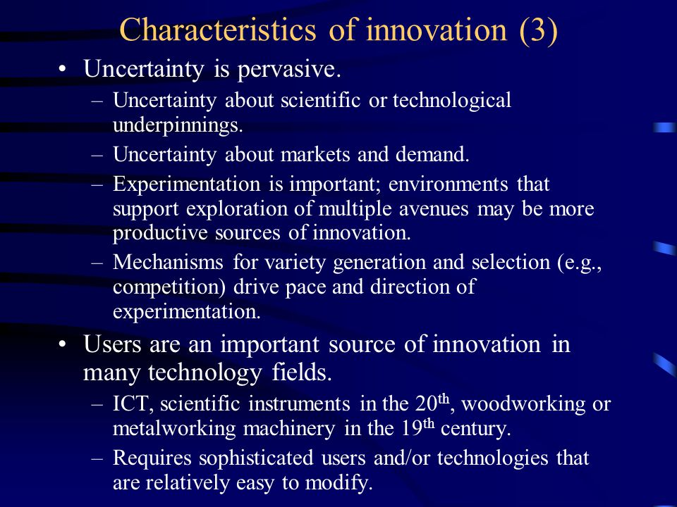 The role of NSIs in a changing innovation process Industrial, technological leaders shift over time: –UK leadership in the 1 st Industrial Revolution (1750-1850); –US/German leadership in the 2 nd Industrial Revolution (1880- 1910); –US leadership in a 3d Industrial Revolution (1945-1990).