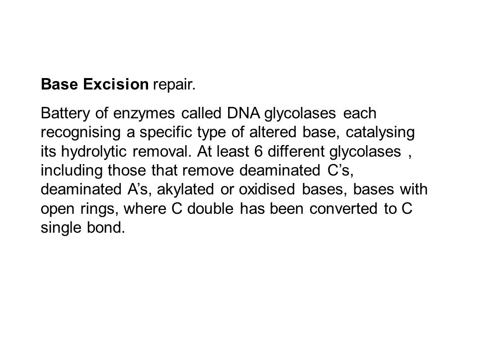 Base Excision repair. Battery of enzymes called DNA glycolases each recognising a specific type of altered base, catalysing its hydrolytic removal. At
