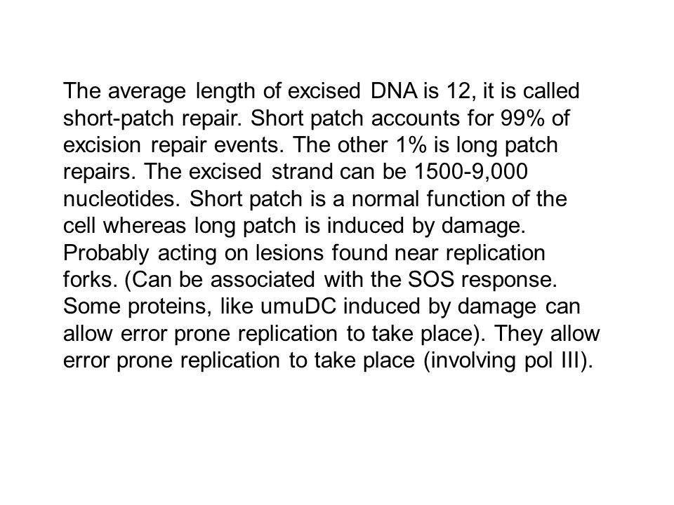 The average length of excised DNA is 12, it is called short-patch repair. Short patch accounts for 99% of excision repair events. The other 1% is long
