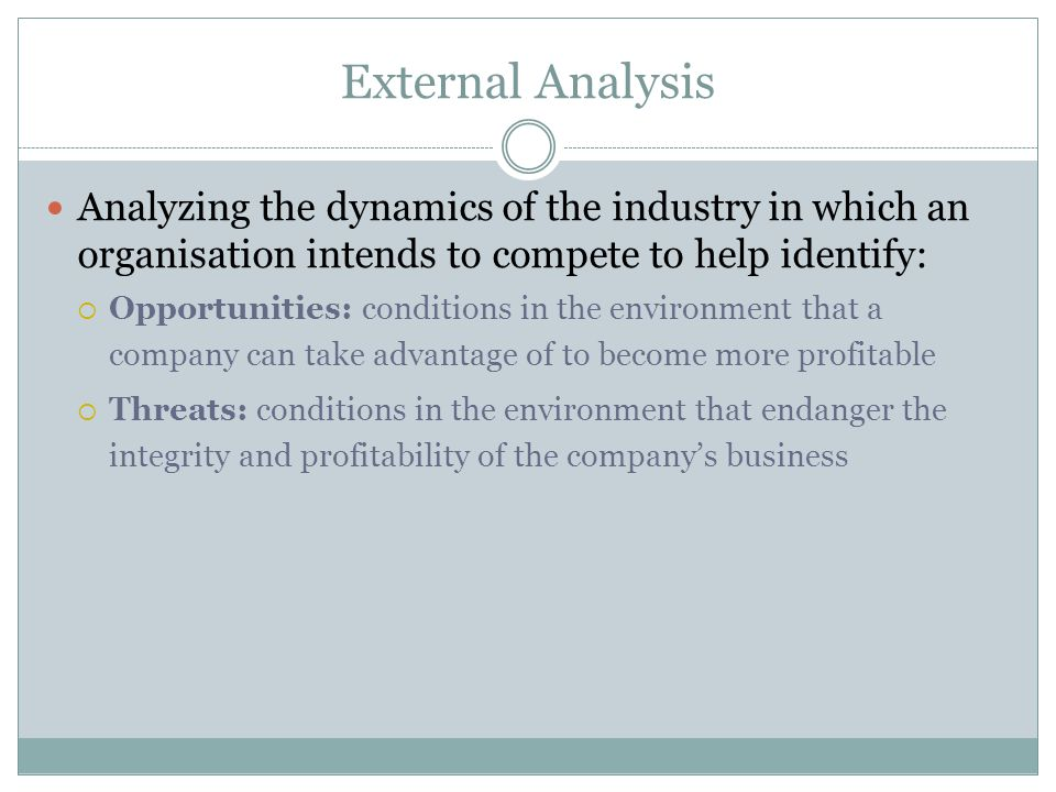 External Analysis Analyzing the dynamics of the industry in which an organisation intends to compete to help identify: Opportunities: conditions in th