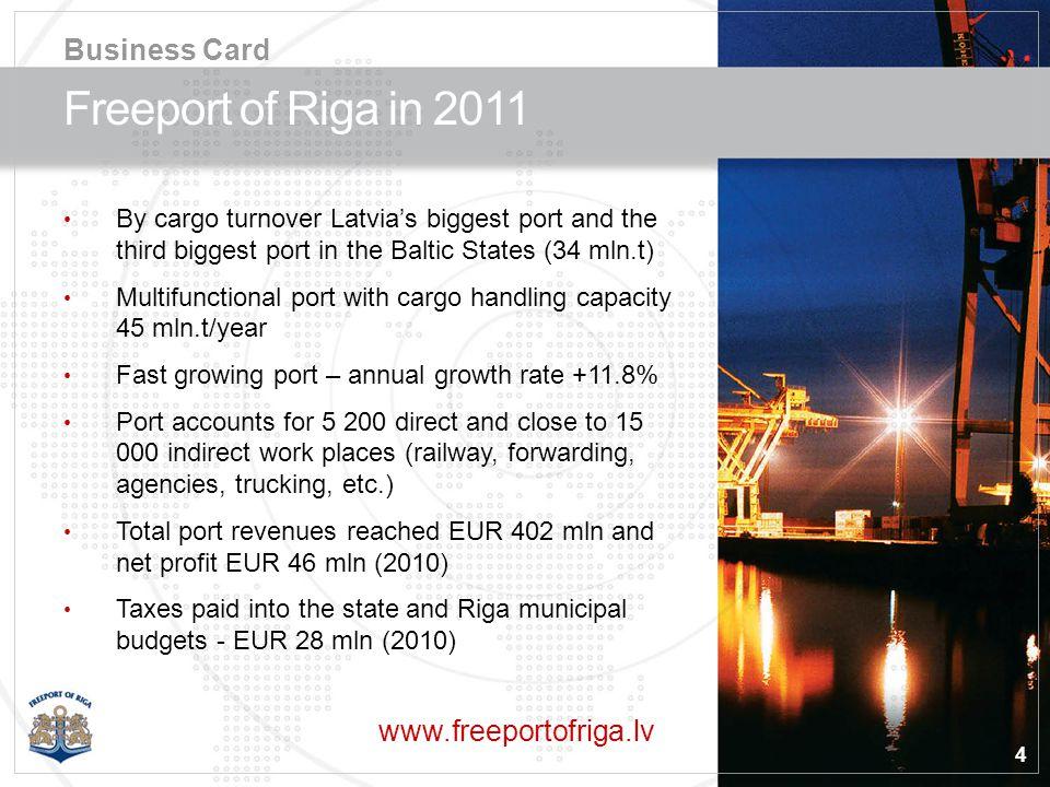 5 Freeport of Riga – 11% of the City Territory Business Card Port border line ––– Railway - - - Main roads ––– Port border line ––– Railway - - - Main roads ––– Legend Total port area6 348 ha Total berths length13.8 km Max.