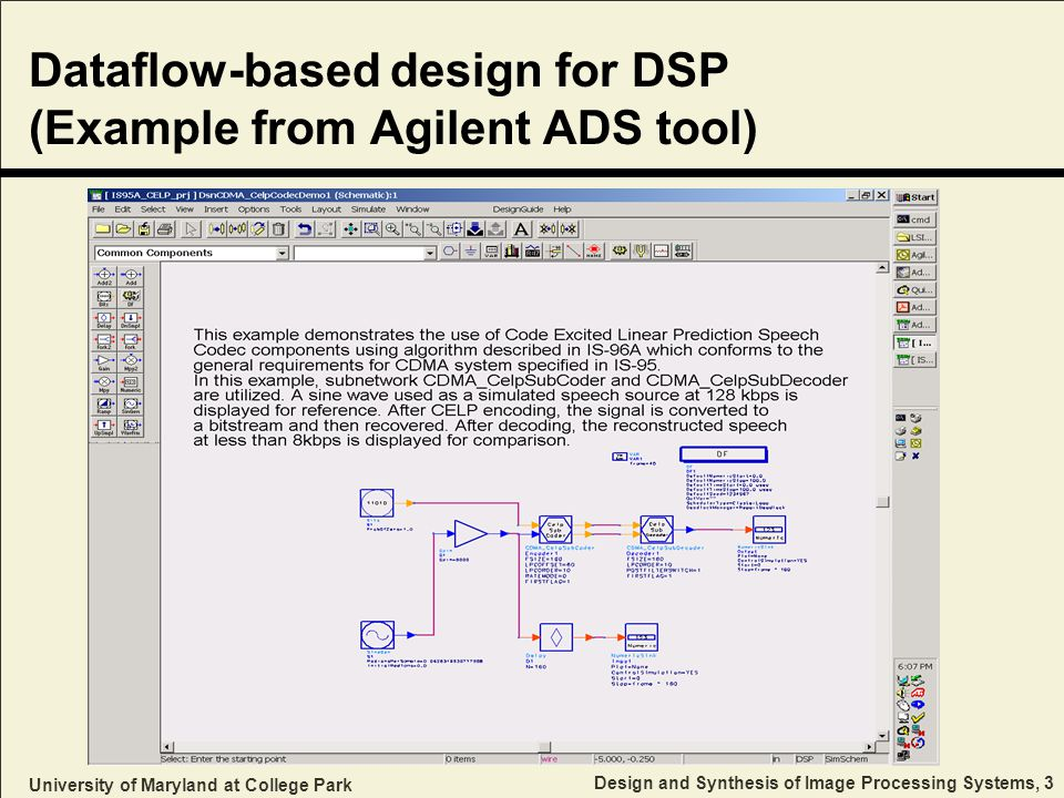 University of Maryland at College Park Design and Synthesis of Image Processing Systems, 3 Dataflow-based design for DSP (Example from Agilent ADS tool)