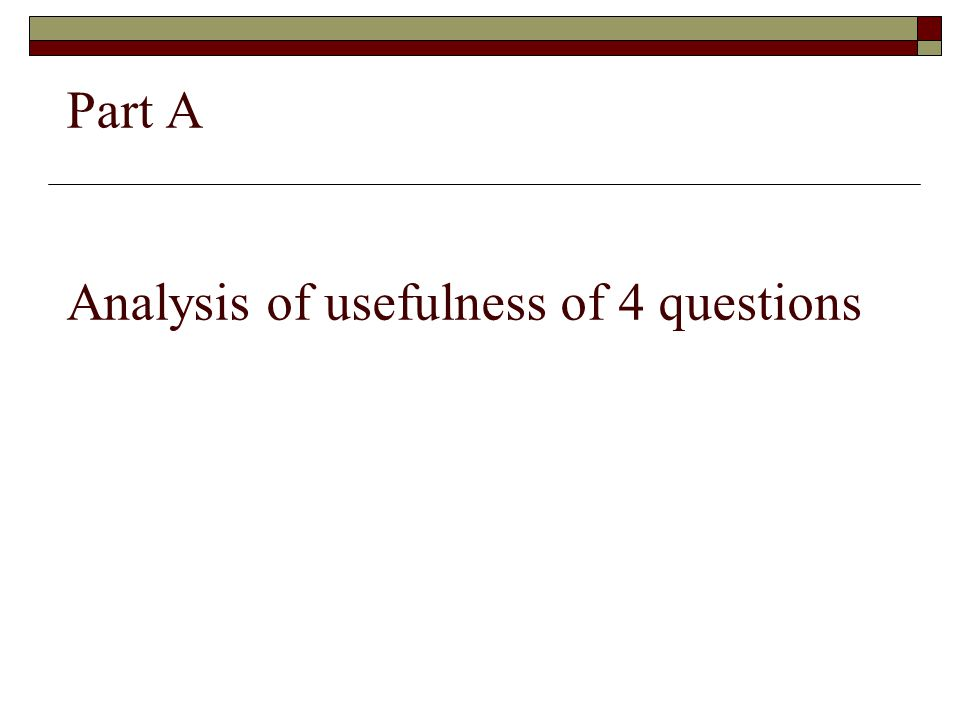 Part A Analysis of usefulness of 4 questions