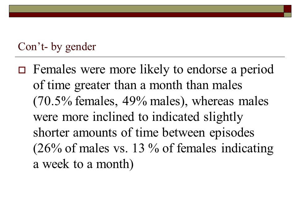 Cont- by gender Females were more likely to endorse a period of time greater than a month than males (70.5% females, 49% males), whereas males were mo