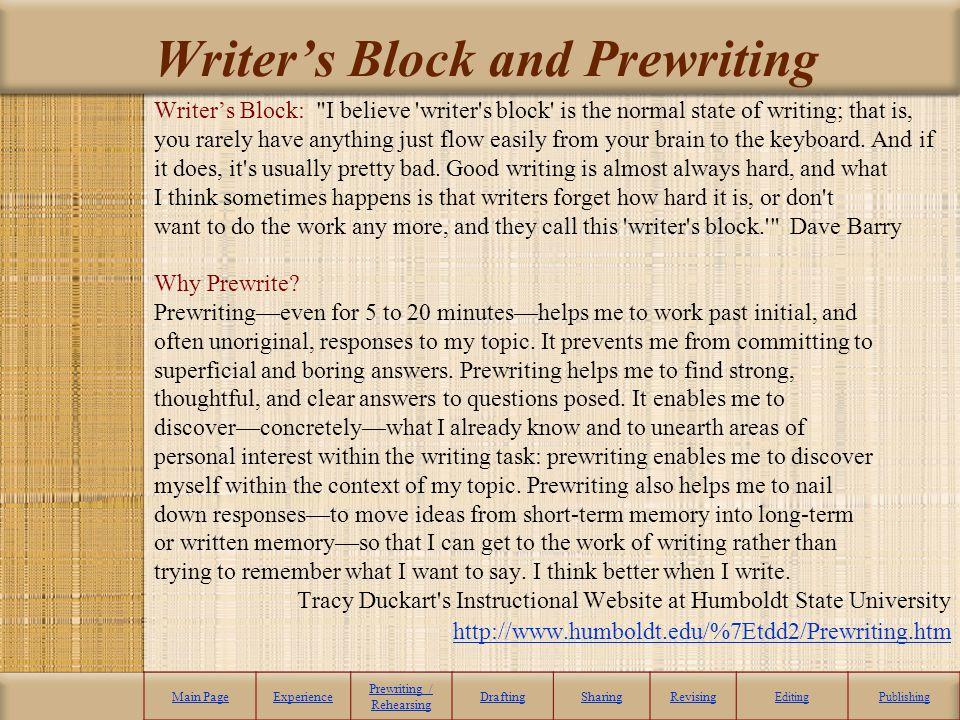 Writers Block and Prewriting Writers Block: