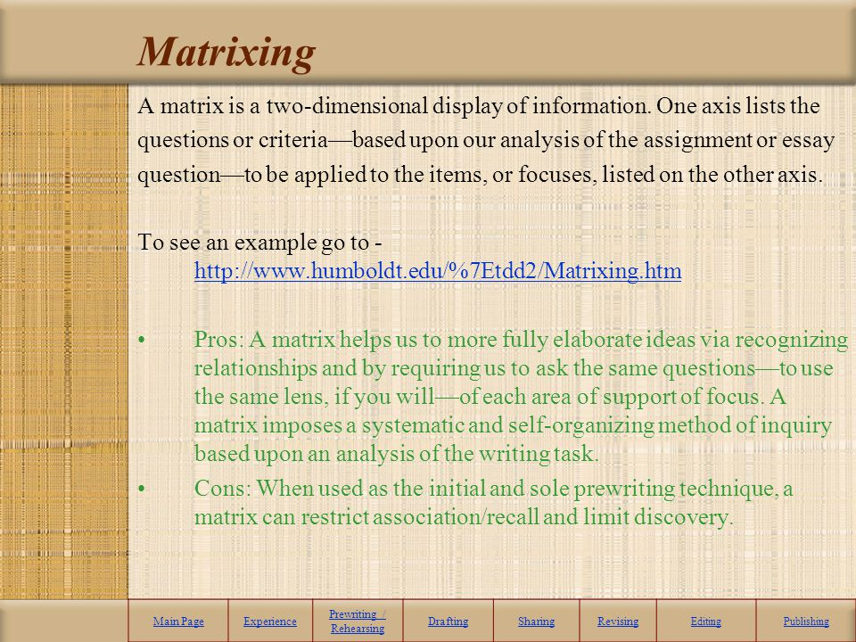 Matrixing A matrix is a two-dimensional display of information. One axis lists the questions or criteriabased upon our analysis of the assignment or e