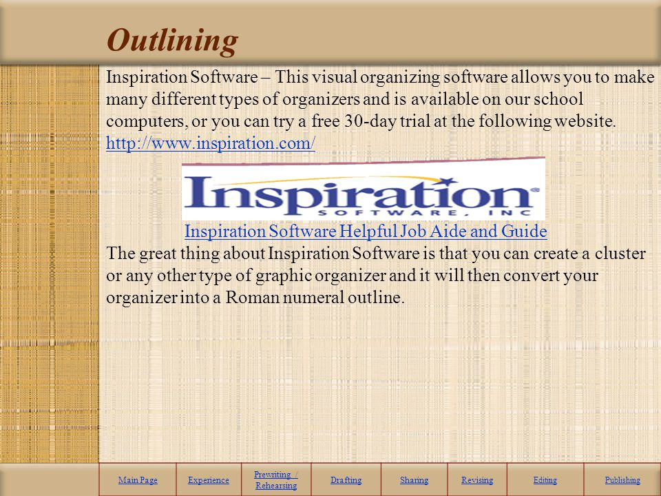 Outlining Inspiration Software – This visual organizing software allows you to make many different types of organizers and is available on our school