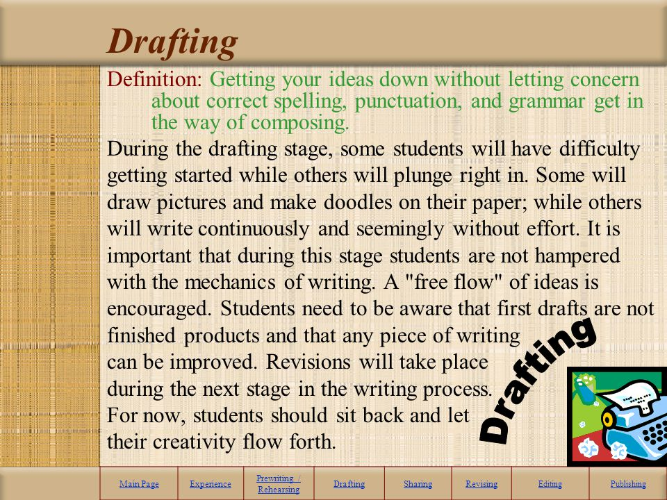 Drafting Definition: Getting your ideas down without letting concern about correct spelling, punctuation, and grammar get in the way of composing. Dur