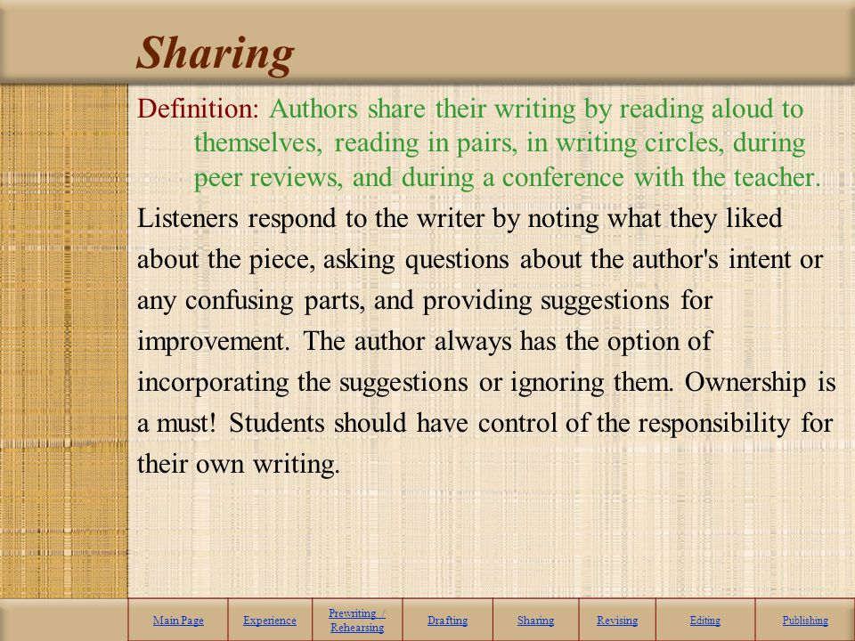 Sharing Definition: Authors share their writing by reading aloud to themselves, reading in pairs, in writing circles, during peer reviews, and during