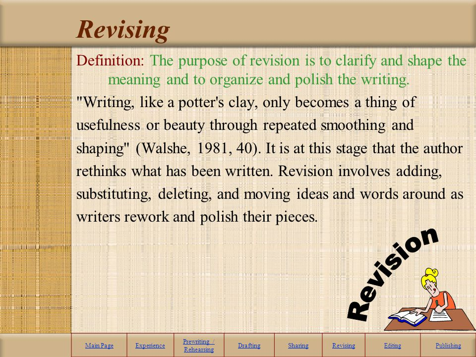 Revising Definition: The purpose of revision is to clarify and shape the meaning and to organize and polish the writing.