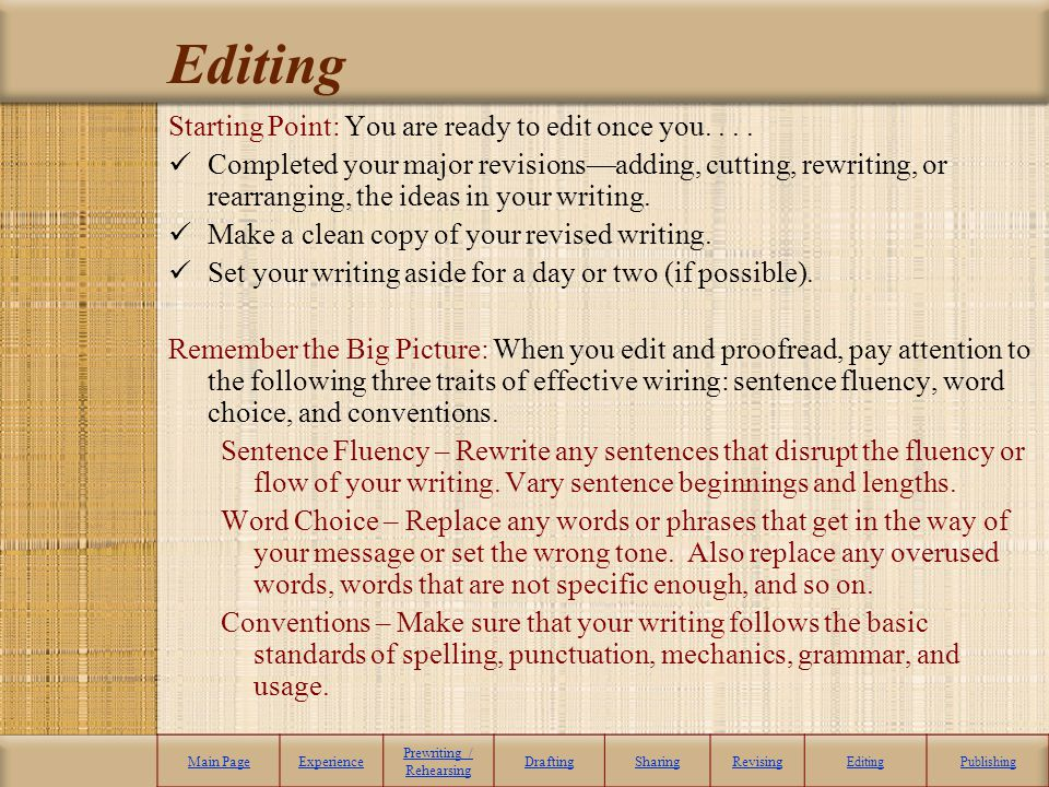 Editing Main PageExperience Prewriting / Rehearsing DraftingSharingRevising EditingPublishing Starting Point: You are ready to edit once you.... Compl