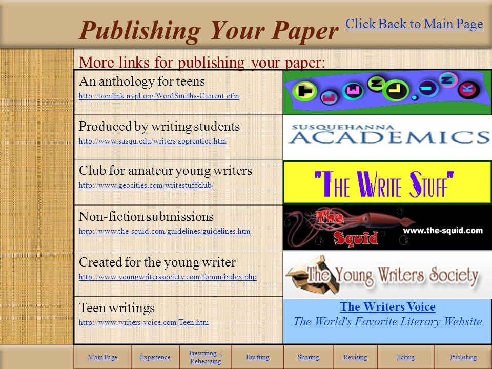 Publishing Your Paper More links for publishing your paper: Main PageExperience Prewriting / Rehearsing DraftingSharingRevising EditingPublishing An a