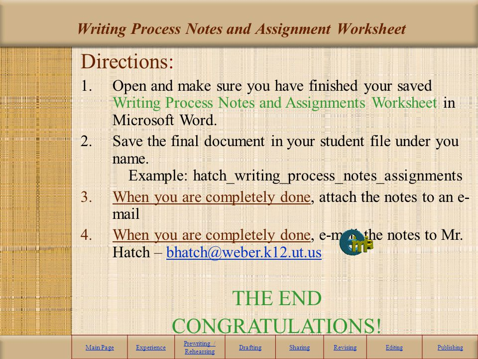 Writing Process Notes and Assignment Worksheet Main PageExperience Prewriting / Rehearsing DraftingSharingRevising EditingPublishing Directions: 1.Ope