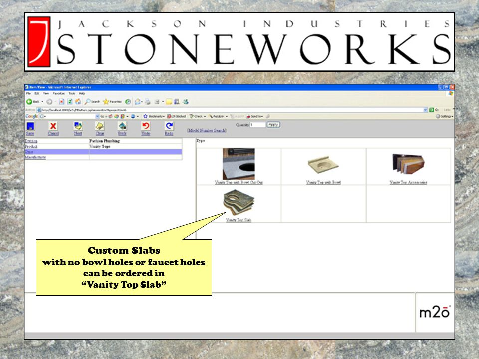 Once Order is Complete, an item preview appears, with a color swatch to indicate your granite color selection