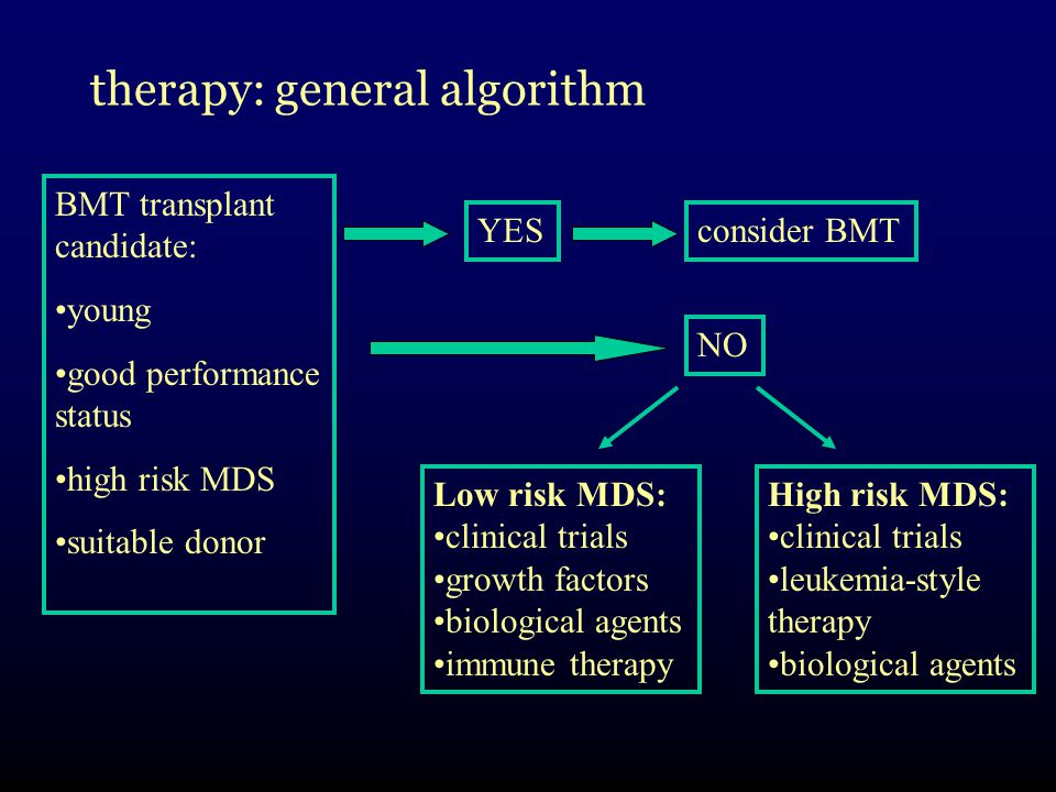 therapy: general algorithm BMT transplant candidate: young good performance status high risk MDS suitable donor YESconsider BMT NO Low risk MDS: clinical trials growth factors biological agents immune therapy High risk MDS: clinical trials leukemia-style therapy biological agents