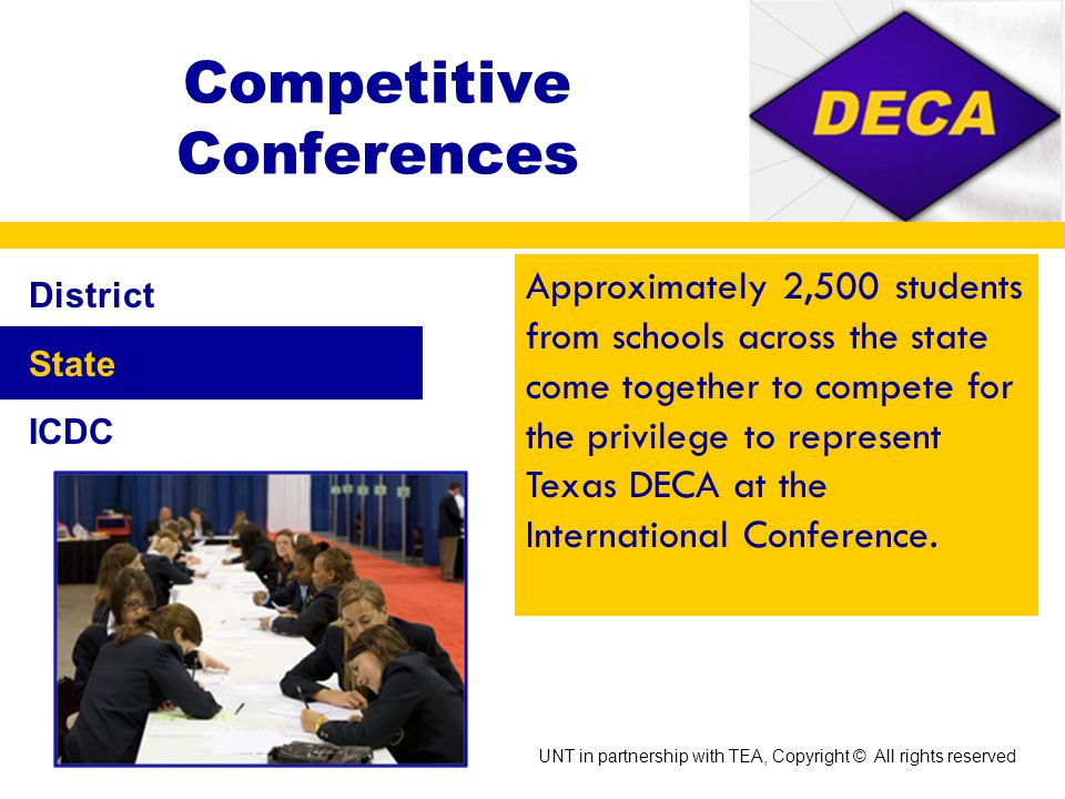 Competitive Conferences District State ICDC Takes place in January or February and are close to home so they allow you to meet individuals who you will most likely interact with throughout the year.