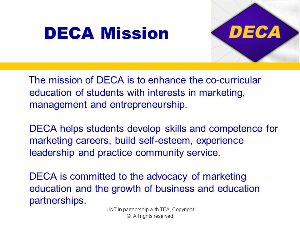 DECA Facts Founded in 1946 DECA used to stand for Distributive Education Clubs of America Today DECA is An association of marketing students.