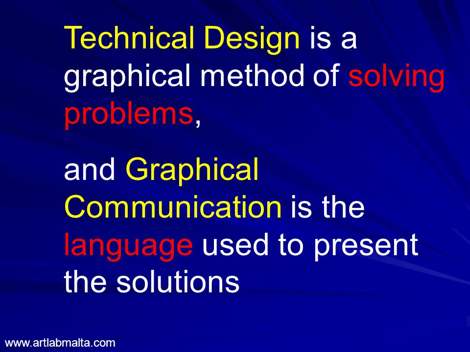 Technical Design is a graphical method of solving problems, and Graphical Communication is the language used to present the solutions