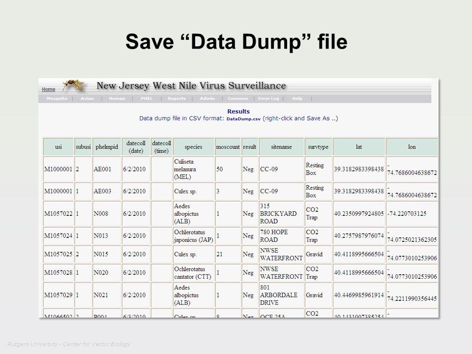 Rutgers University - Center for Vector Biology Save Data Dump file