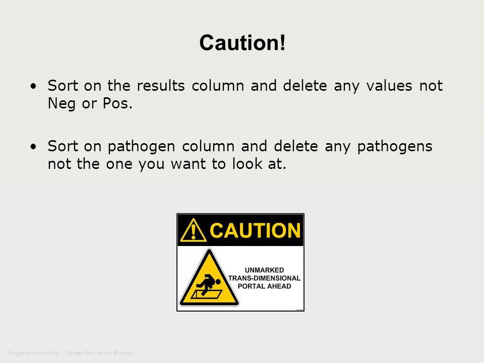 Caution! Sort on the results column and delete any values not Neg or Pos. Sort on pathogen column and delete any pathogens not the one you want to loo