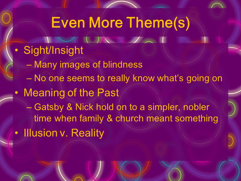 Even More Theme(s) Sight/Insight –Many images of blindness –No one seems to really know whats going on Meaning of the Past –Gatsby & Nick hold on to a