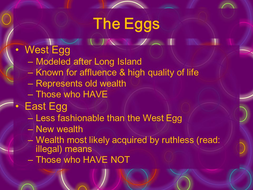 The Eggs West Egg –Modeled after Long Island –Known for affluence & high quality of life –Represents old wealth –Those who HAVE East Egg –Less fashion