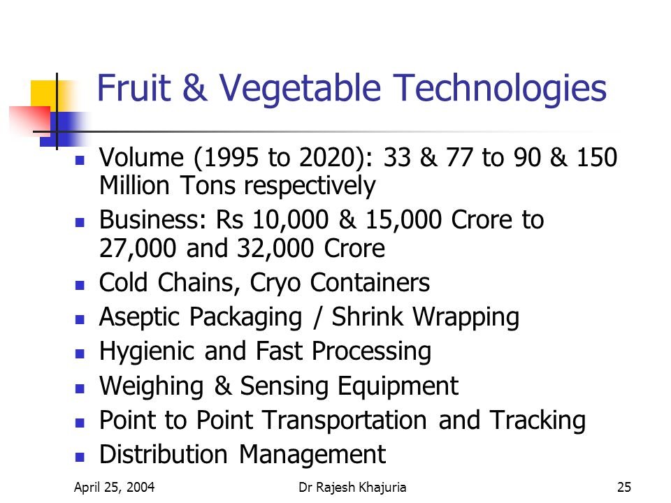 April 25, 2004Dr Rajesh Khajuria25 Fruit & Vegetable Technologies Volume (1995 to 2020): 33 & 77 to 90 & 150 Million Tons respectively Business: Rs 10,000 & 15,000 Crore to 27,000 and 32,000 Crore Cold Chains, Cryo Containers Aseptic Packaging / Shrink Wrapping Hygienic and Fast Processing Weighing & Sensing Equipment Point to Point Transportation and Tracking Distribution Management