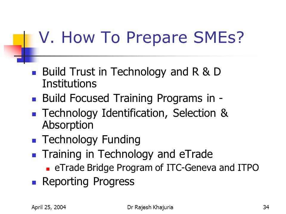 April 25, 2004Dr Rajesh Khajuria34 V. How To Prepare SMEs.