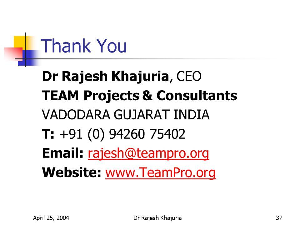 April 25, 2004Dr Rajesh Khajuria37 Thank You Dr Rajesh Khajuria, CEO TEAM Projects & Consultants VADODARA GUJARAT INDIA T: +91 (0) 94260 75402 Email: rajesh@teampro.orgrajesh@teampro.org Website: www.TeamPro.orgwww.TeamPro.org