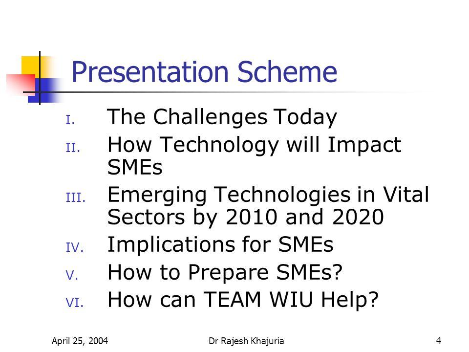 April 25, 2004Dr Rajesh Khajuria4 Presentation Scheme I.