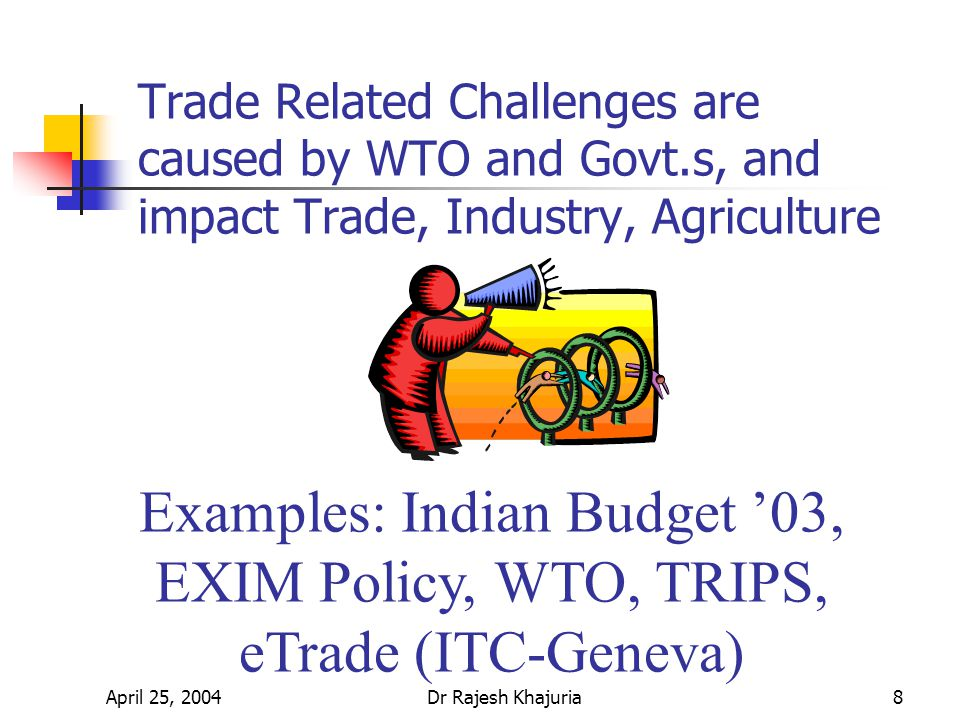April 25, 2004Dr Rajesh Khajuria8 Trade Related Challenges are caused by WTO and Govt.s, and impact Trade, Industry, Agriculture Examples: Indian Budget 03, EXIM Policy, WTO, TRIPS, eTrade (ITC-Geneva)