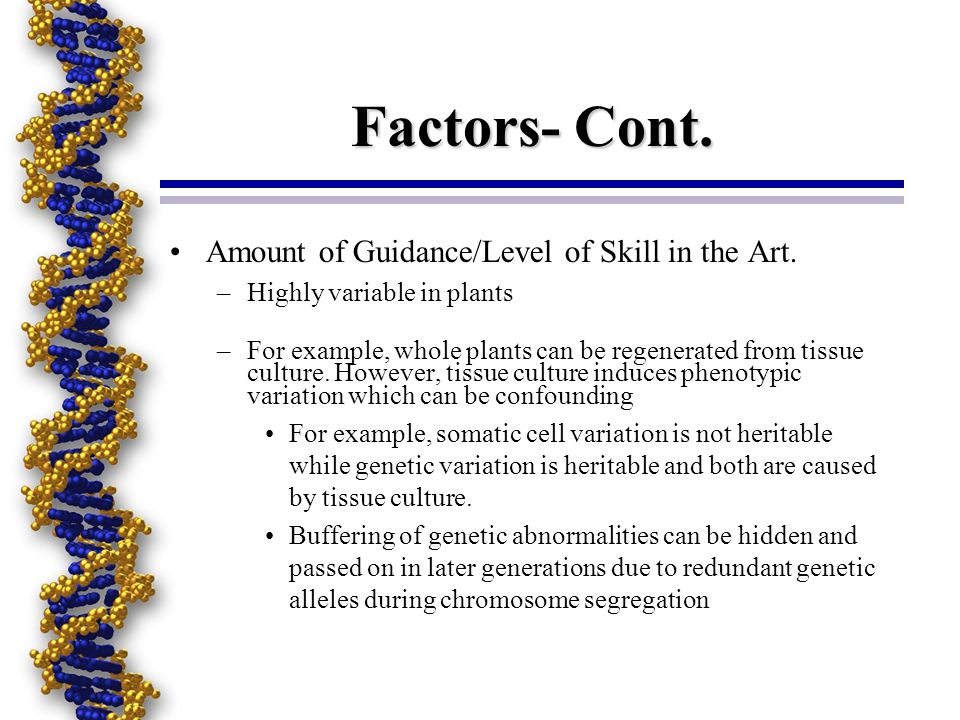 Factors- Cont. Amount of Guidance/Level of Skill in the Art. –Highly variable in plants –For example, whole plants can be regenerated from tissue cult