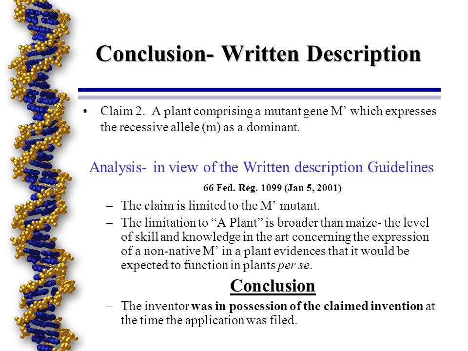 Conclusion- Written Description Claim 2. A plant comprising a mutant gene M which expresses the recessive allele (m) as a dominant. Analysis- in view