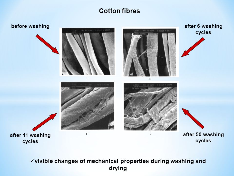 Cotton fibres before washing after 11 washing cycles after 6 washing cycles after 50 washing cycles visible changes of mechanical properties during wa
