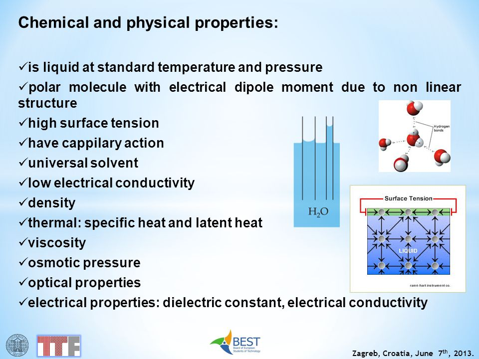 Zagreb, Croatia, June 7 th, 2013. Chemical and physical properties: is liquid at standard temperature and pressure polar molecule with electrical dipo