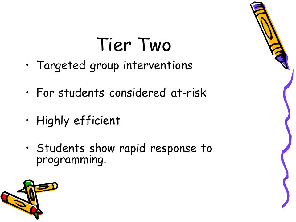 Tier Two Targeted group interventions For students considered at-risk Highly efficient Students show rapid response to programming.