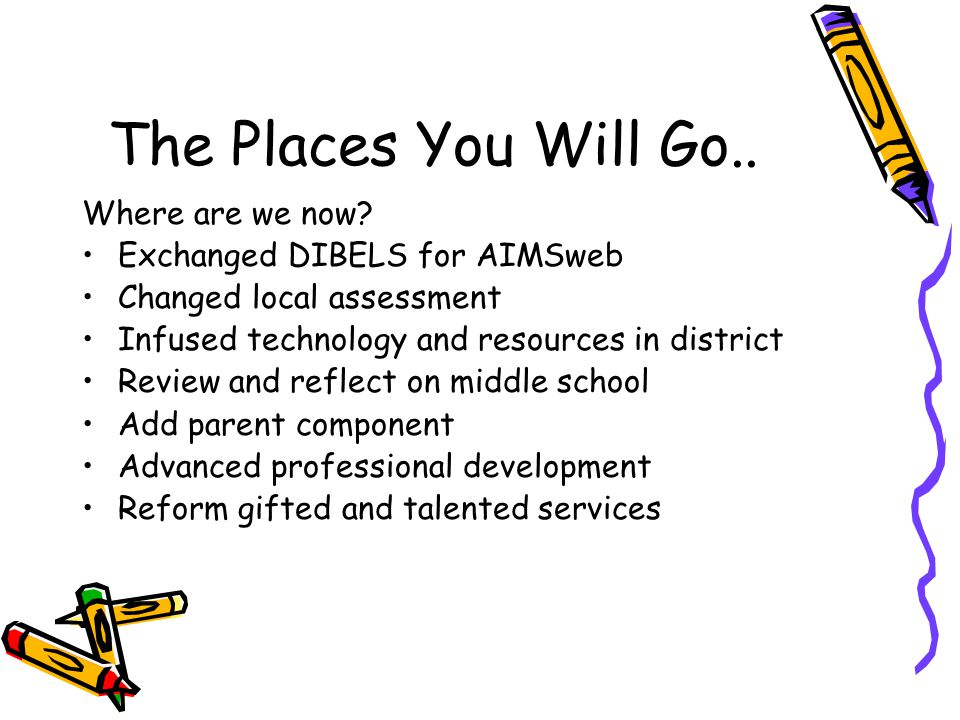The Places You Will Go.. Where are we now? Exchanged DIBELS for AIMSweb Changed local assessment Infused technology and resources in district Review a
