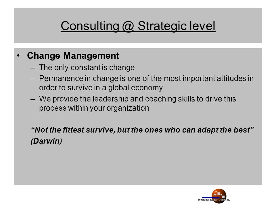 Consulting @ Strategic level Change Management –The only constant is change –Permanence in change is one of the most important attitudes in order to survive in a global economy –We provide the leadership and coaching skills to drive this process within your organization Not the fittest survive, but the ones who can adapt the best (Darwin)