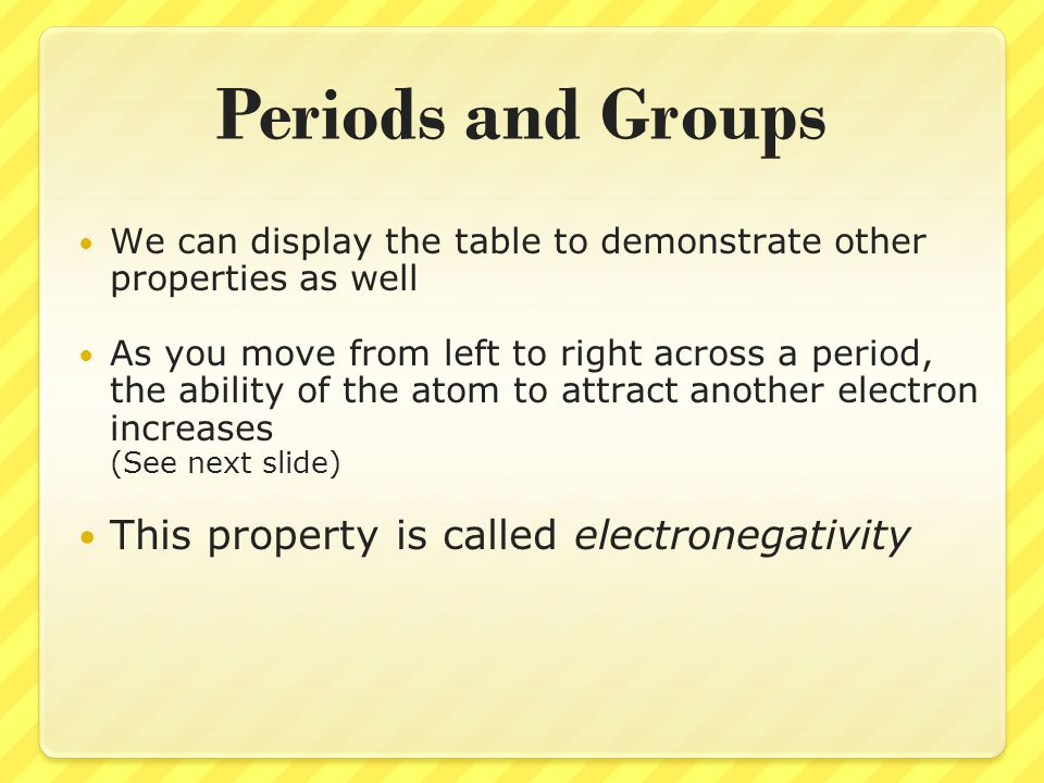 Periods and Groups We can display the table to demonstrate other properties as well As you move from left to right across a period, the ability of the
