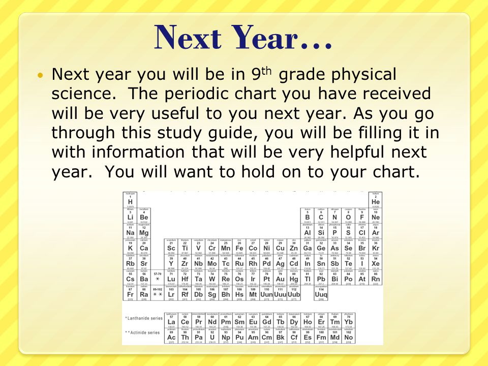 Next Year… Next year you will be in 9 th grade physical science. The periodic chart you have received will be very useful to you next year. As you go