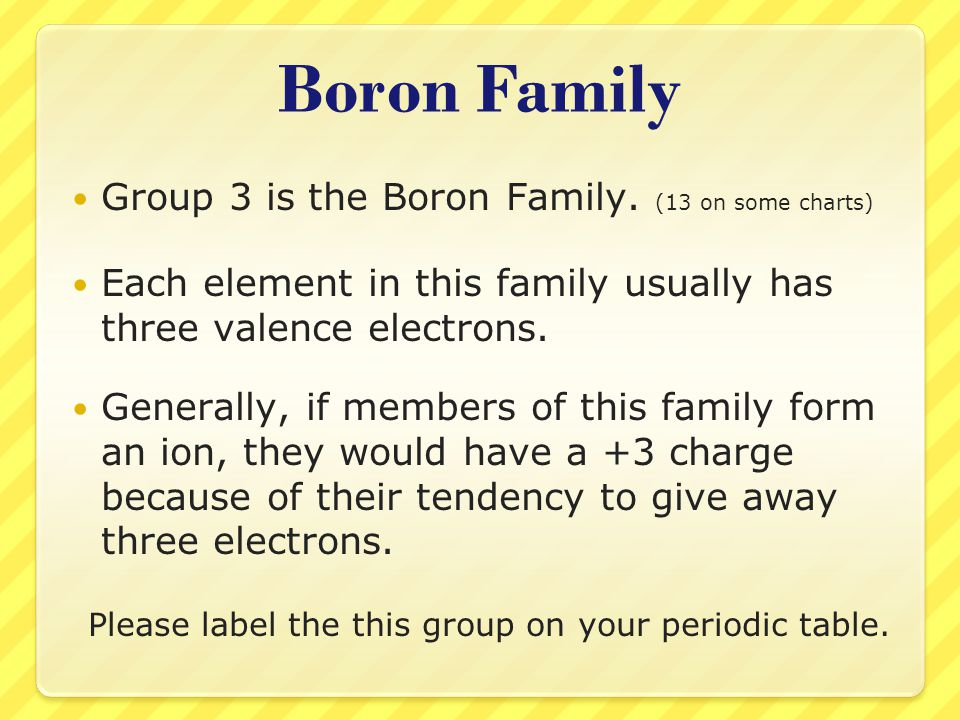 Boron Family Group 3 is the Boron Family. (13 on some charts) Each element in this family usually has three valence electrons. Generally, if members o